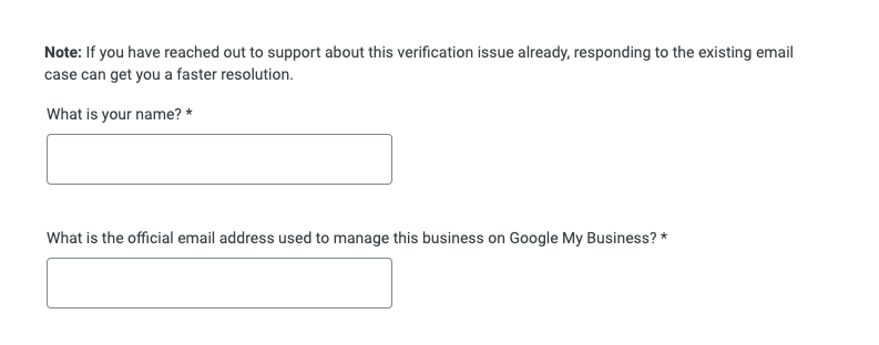 Google My Business screenshot of contact form