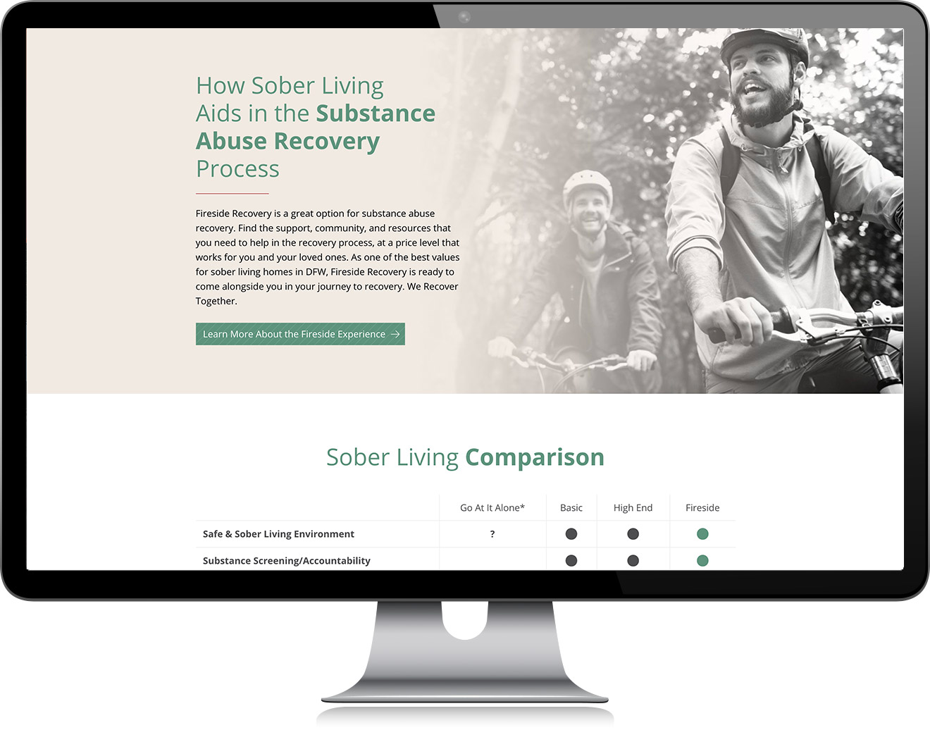 Fireside Recovery About Website Design